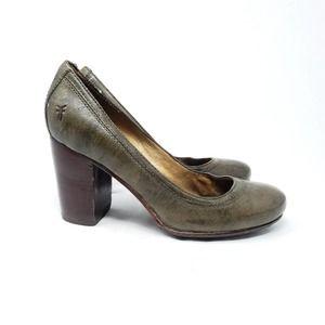 Frye Carson Pump Green Leather Chunky Block Heel